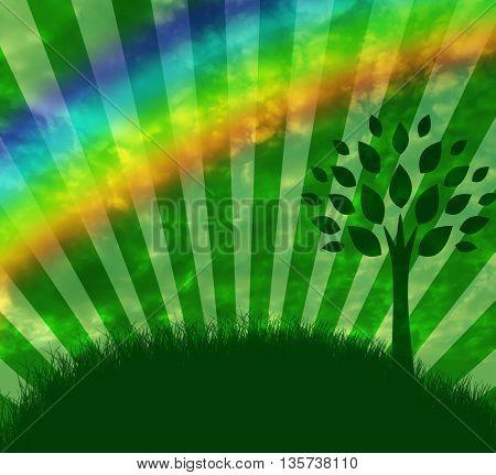 Rainbow and tree