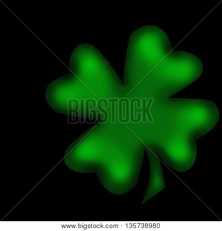 four-leaved clover isolated on black