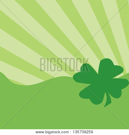 Green four-leaf clover on green background
