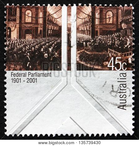 AUSTRALIA - CIRCA 2001: a stamp printed in Australia shows The Opening of the First Federal Parliament 9. May 1901 Painting by Charles Nuttall Centenary circa 2001
