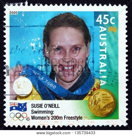 AUSTRALIA - CIRCA 2000: a stamp printed in Australia shows Susie O'Neil Women's 200m Freestyle Winner Australian Gold Medalist at 2000 circa 2000