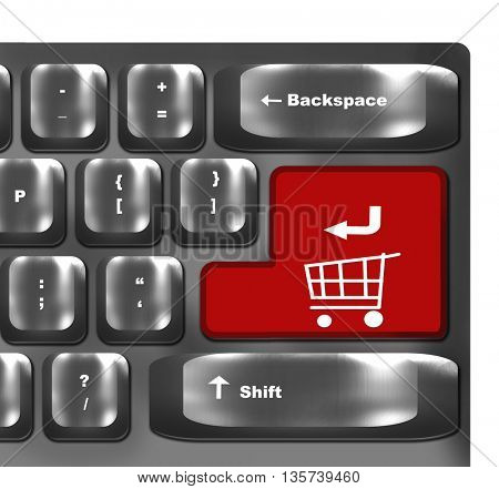 Computer keyboard with red shopping key - internet concept