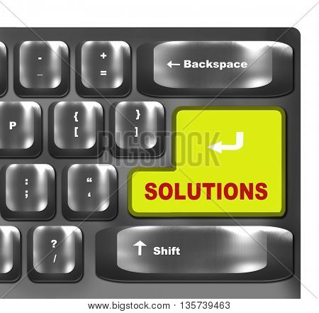 Computer keyboard - green key Solutions, close-up