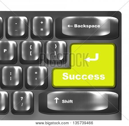 Computer keyboard - yellow key Success, concept business background