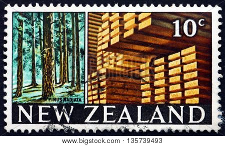 NEW ZEALAND - CIRCA 1968: a stamp printed in New Zealand shows Radiata Pines and Stacked Lumber circa 1968