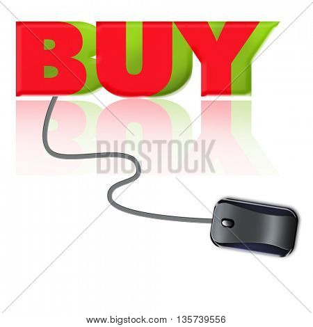 the word buy connected to a computer mouse
