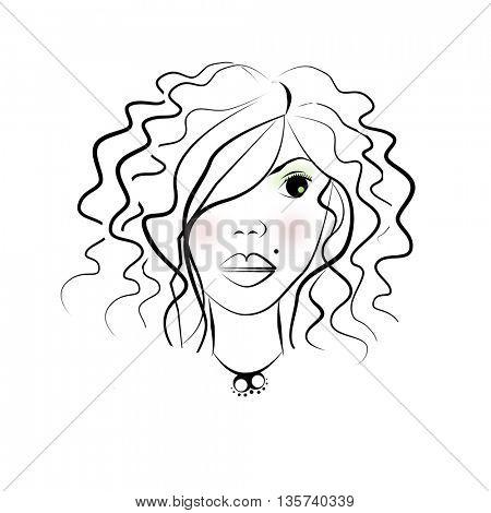 beautiful woman face  illustration