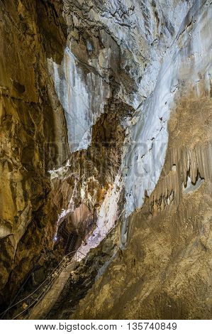 Details within Harmanec Cave in Kremnica Mountains Slovakia