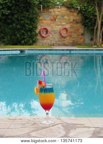 one decorated coctail beautiful full color on the pool