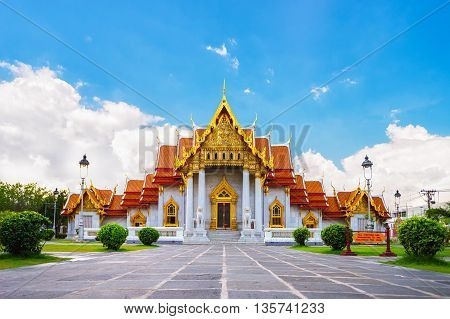 The Famous Marble Temple Benchamabophit From Bangkok, Thailand..