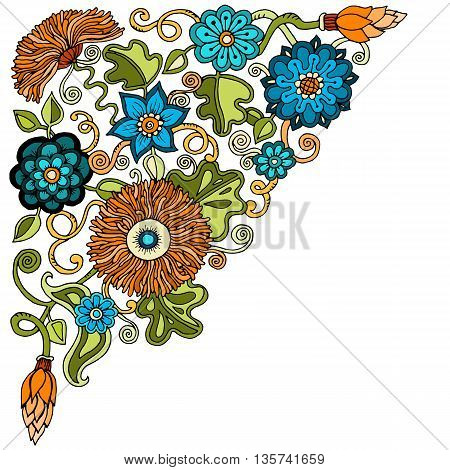 Ethnic floral zentangle, doodle background pattern circle in vector. Henna paisley mehndi doodles design tribal design element