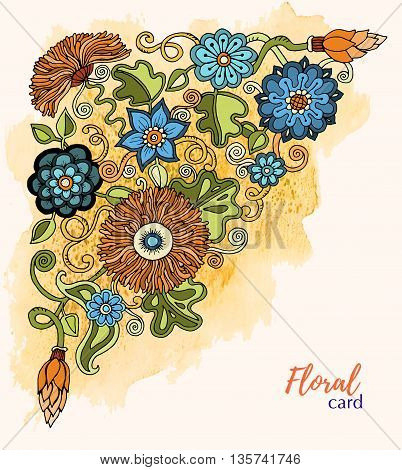 Greeting card with flowers. Watercolor. Hand painting