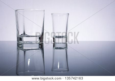 empty glass with white background and inverse image