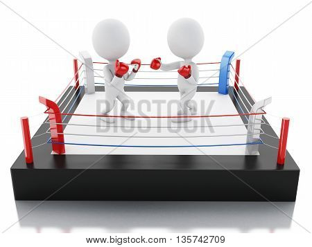 3d renderer image. Two white people with red boxing gloves in the ring. Sport concept. Isolated white background.