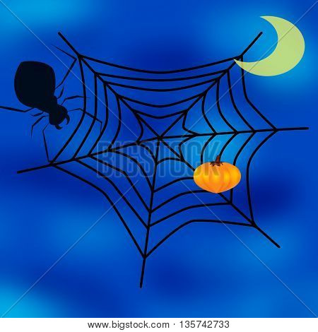 spider web, moon and pumpkin