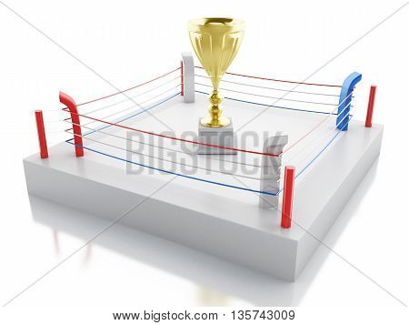 3d renderer image. Boxing ring with a trophy. Sports concept. Isolated white background.