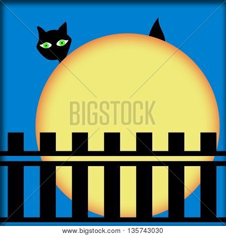Full moon,wooden gate and black cat with green eyes behind the moon