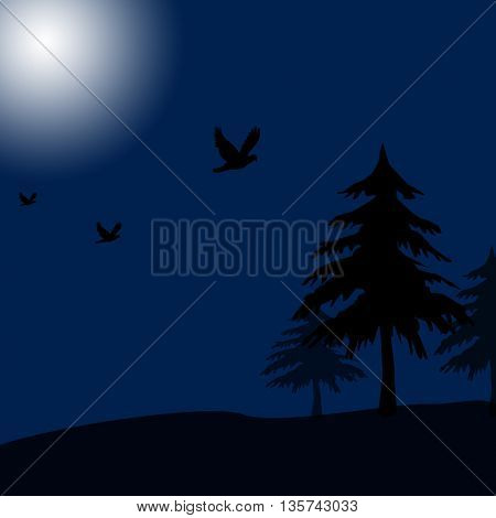 Scary background,dark night,tree,birds and full moon