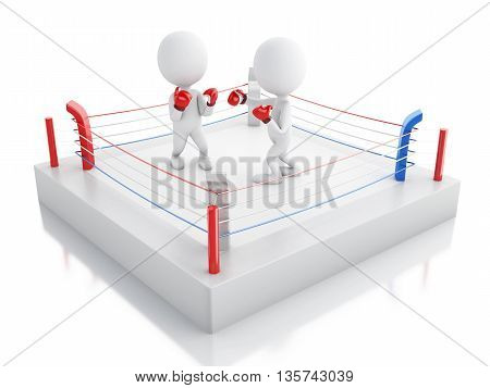 3d renderer image. Two white people boxing in the ring. Sport concept. Isolated white background.