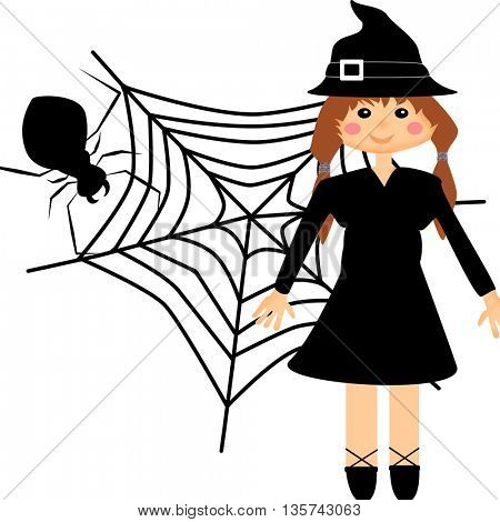 Girl in witch costume and scary spider with his web behind