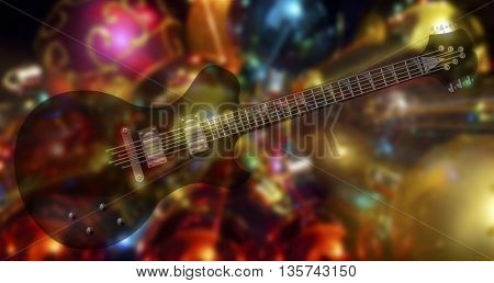 black beautiful electric guitars on a sparkling background