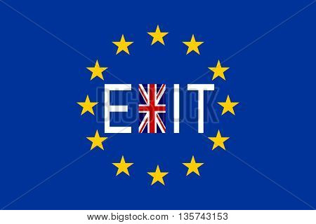 Brexit concept. Flags of Europe and United Kingdom with word Exit.