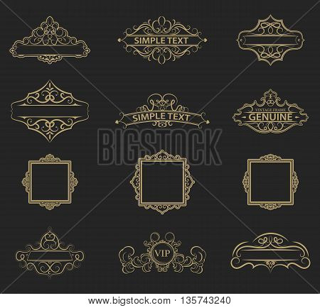 Wicker lines and old decor elements in vector. Vintage borders, frame and rosette in set. Retro page decoration. Decoration for logos, wedding album or restaurant menu. Calligraphic design elements