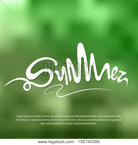 Nature blur background with summer text. Summer sun day with greenery in vector. Green blur background with abstract white text