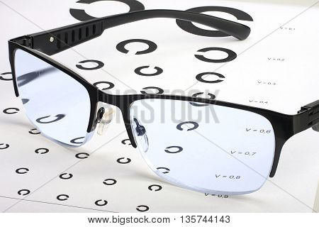 Eyesight test Golovin chart with abstract pattern and glasses