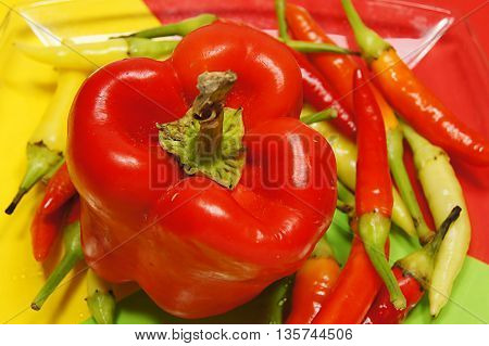 Chilli peppers, isolated