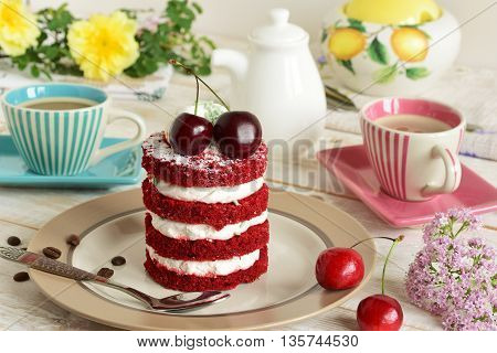 Red Cake With Cherry