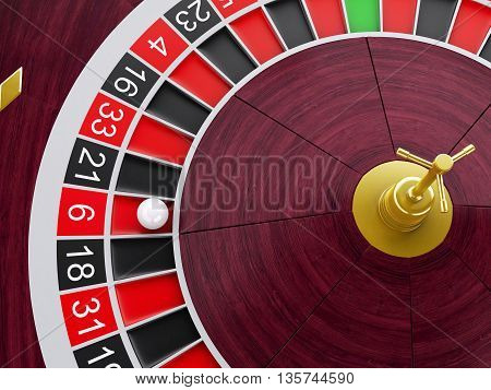 3d renderer image. Casino roulette wheel with ball on number 6. Gambling games.