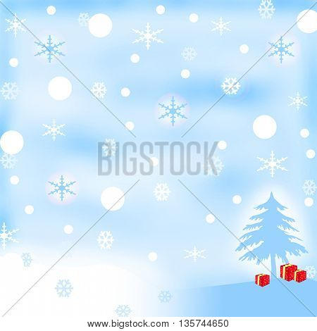 White-blue winter background with red presents under the tree