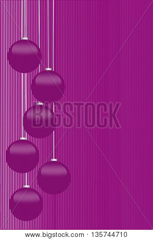 Christmas background with shiny Christmas balls isolated on purple