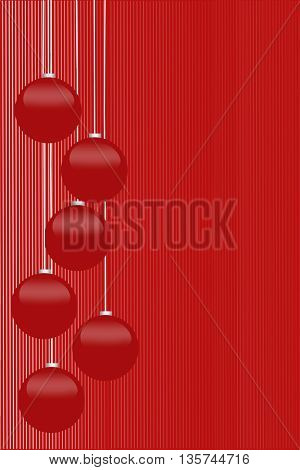 Christmas background with shiny Christmas balls isolated on red