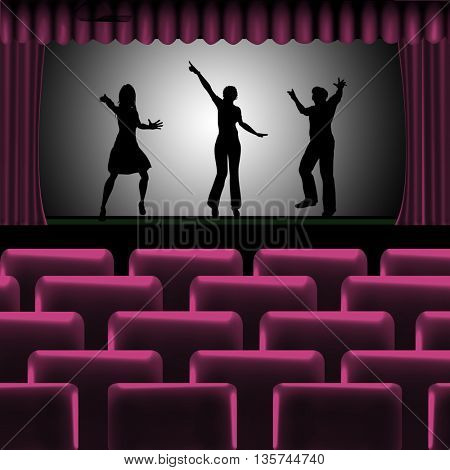 theatre-cinema background with people dancing on scene