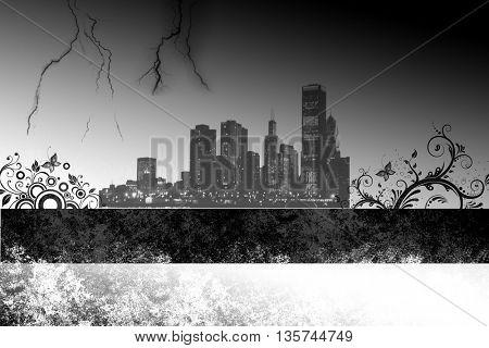 Skyscrapers Grunge city on white background
