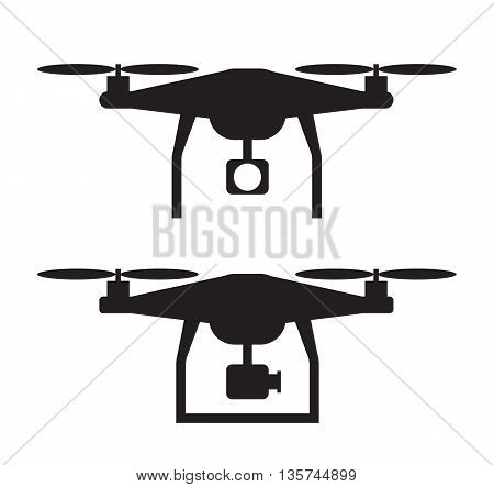 Drone Icon EPS. Copter symbol. Front and side view.