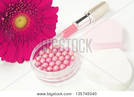 makeup with flower
