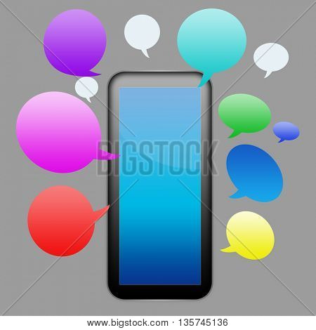 smart phone with speech bubbles