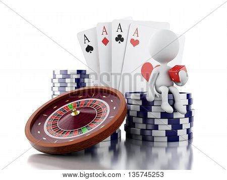 3d renderer image. White people with casino roulette wheel chips poker cards and dice. Gambling games. Isolated white background.