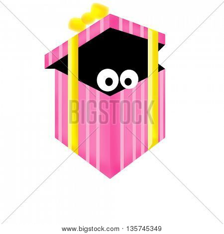 Looking from inside pink gift box