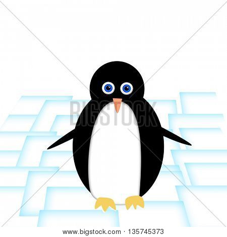 cute penguin on ice