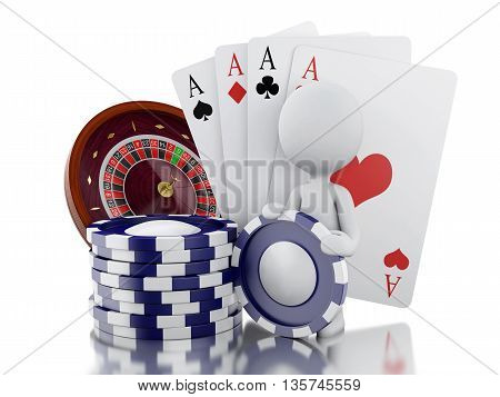3d renderer image. White people with casino roulette wheel chips andpoker cards. Gambling games. Isolated white background.