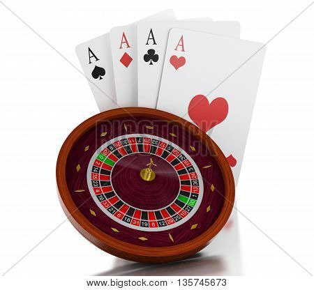 3d renderer image. Casino roulette wheel with chips. Gambling games. Isolated white background.