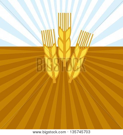 pattern seamless of wheat with LANDSCAPE