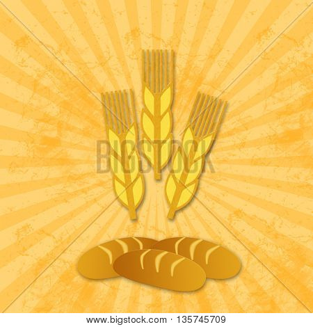 pattern seamless of wheat with bread shape