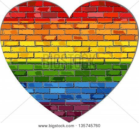 LGBT flag on a brick wall heart shape - Illustration,  Symbol of gay and lesbian love,  Heart with a lesbian pride flag