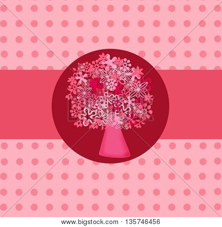 flower pink Tree isolated on a pink  background