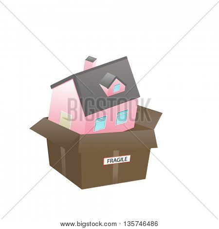 A New Home for sale or delivery in a clean  House Carton as: icon; a gift; real estate concepts
